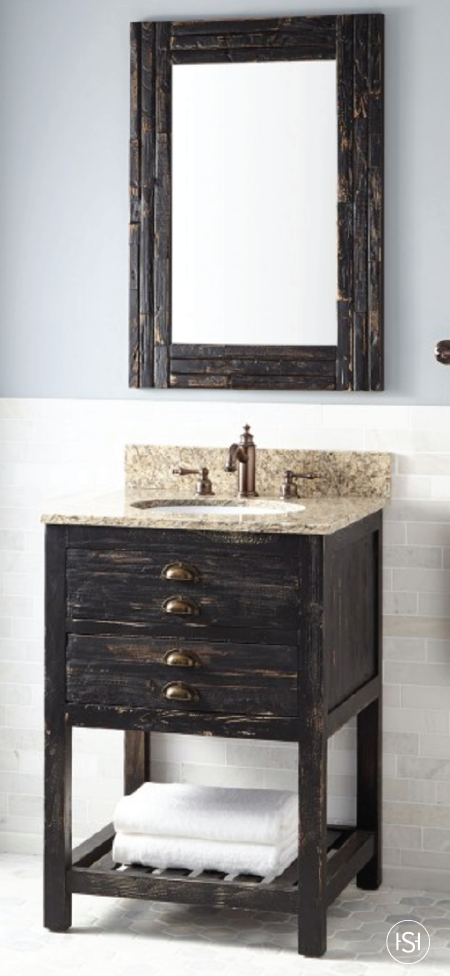 The Dark Wood Finish Of 24 Benoist Reclaimed Vanity From Signature Hardware Will Help Bring A Rustic Style To Your Guest Bathroom