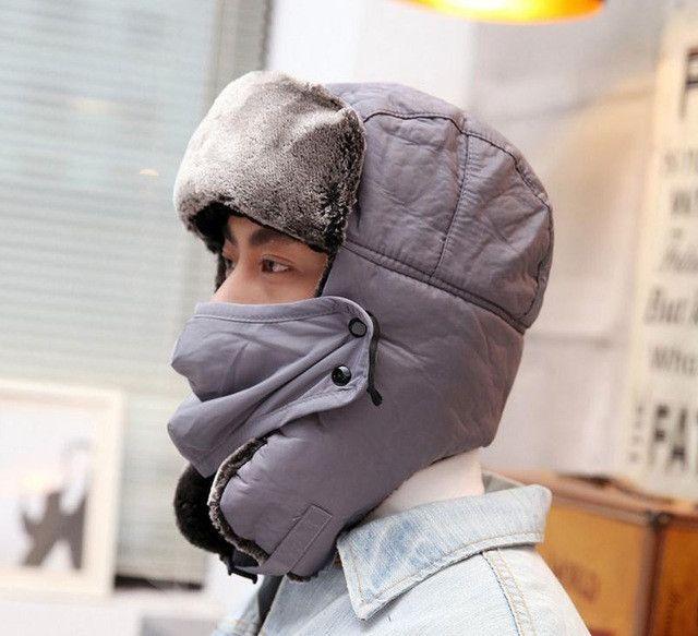rRussian Earflap Winter black fur hats Outdoor Windproof Thick warm winter  snow man women cap Face 0eb988c009f5