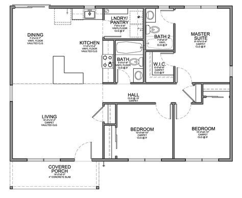 Floor Plan For Affordable 1 100 Sf House With 3 Bedrooms And 2 Bathrooms House Layout Plans Three Bedroom House Plan Barndominium Floor Plans