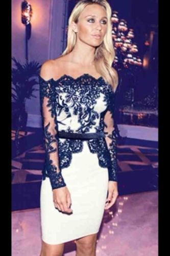 5640d9cf4c2 Lipsy black   white VIP lace bardot peplum dress size 12 BNWT sold ...