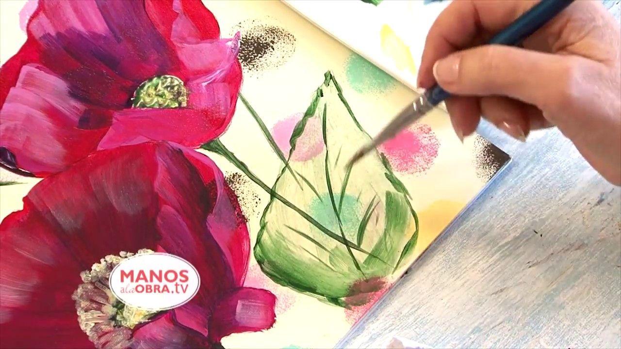 Pintar Flores En Acrilico Cuadro Amapolas Y Lunares Flores Pintadas Amapolas Como Pintar En Oleo