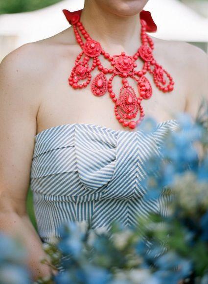 Merriment events / coral necklace, navy bridesmaid dress