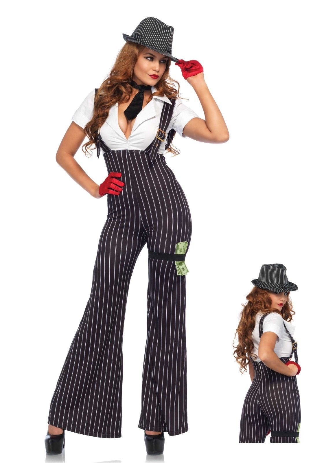 Leg Avenue mafia kostuum dames Brass knuckle Babe 3 Delig Brass Knuckle  Babe kostuum set. Krijtstreep catsuit fcfb31dc6ad