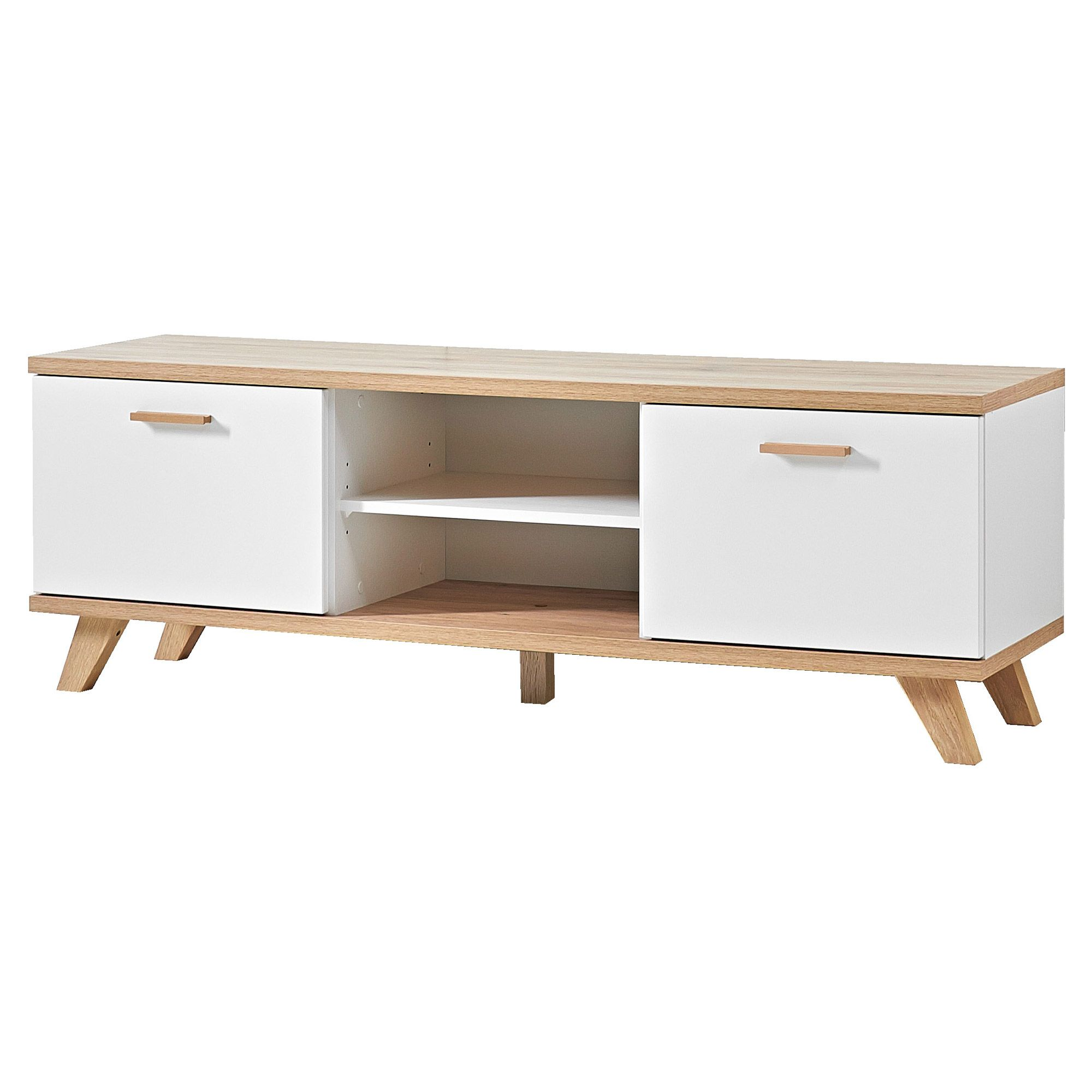 Meuble Tv Bas En Bois Pi Tement Ch Ne 2 Portes 2 Niches L144cm