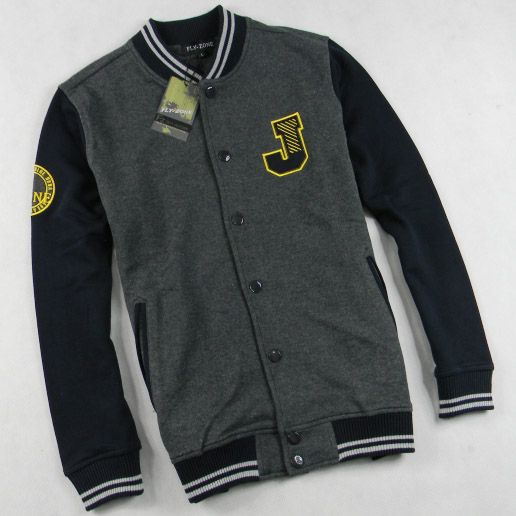 mens letter j grey black varsity baseball jacket