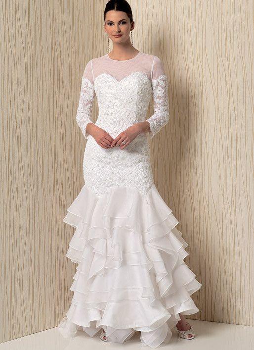 Vogue V1495 Sweetheart-Neckline Gowns with Flounces | krásné ...