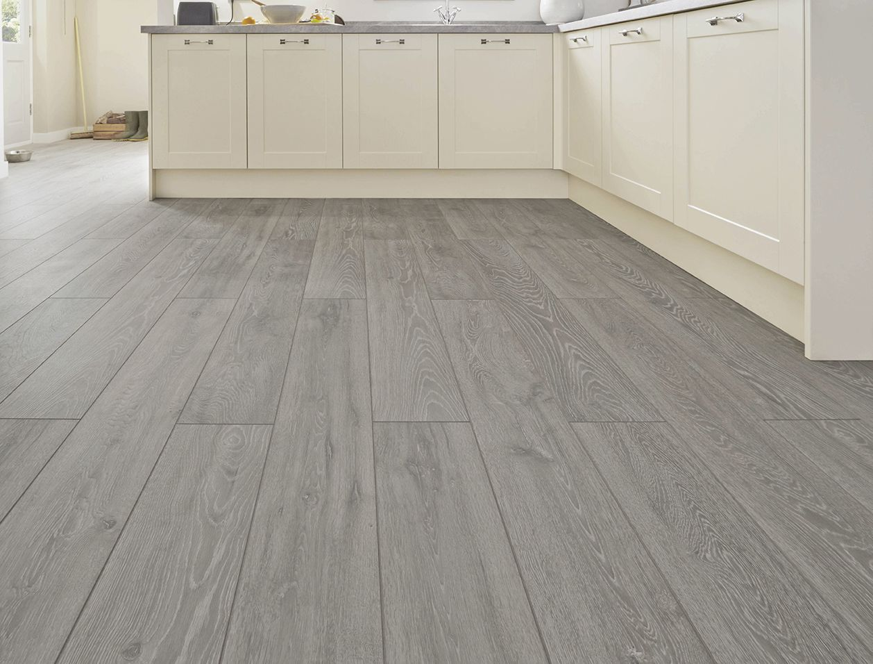 This Professional V Groove Light Grey Oak Laminate Flooring Goes In Hand Perfectly With Our Bu Light Grey Oak Flooring Grey Wooden Floor Grey Laminate Flooring