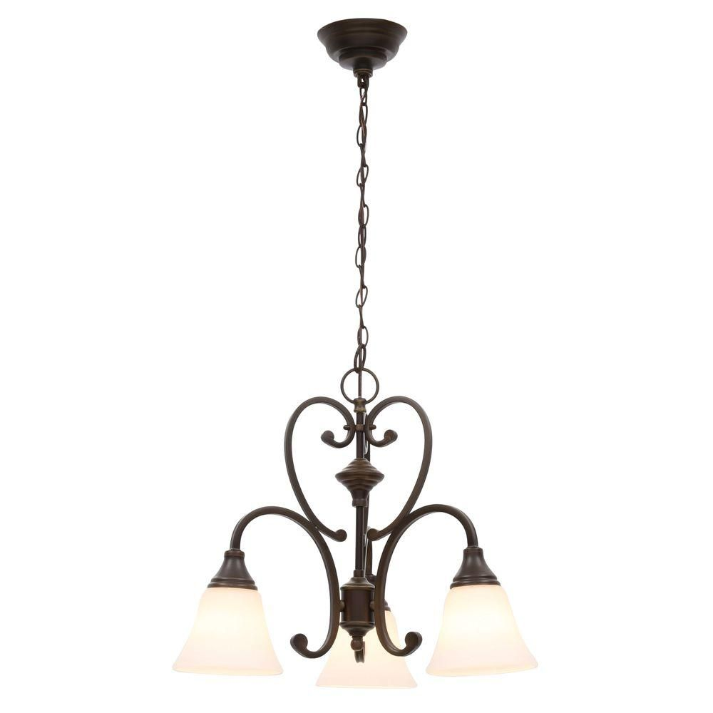 Hampton Bay Somerset Collection 3 Light Bronze Chandelier Gex8193a