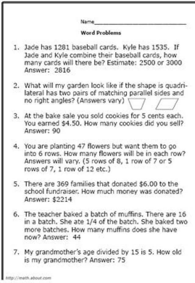 Sample Word Problem Worksheets. Printable Algebra Worksheet Math ...