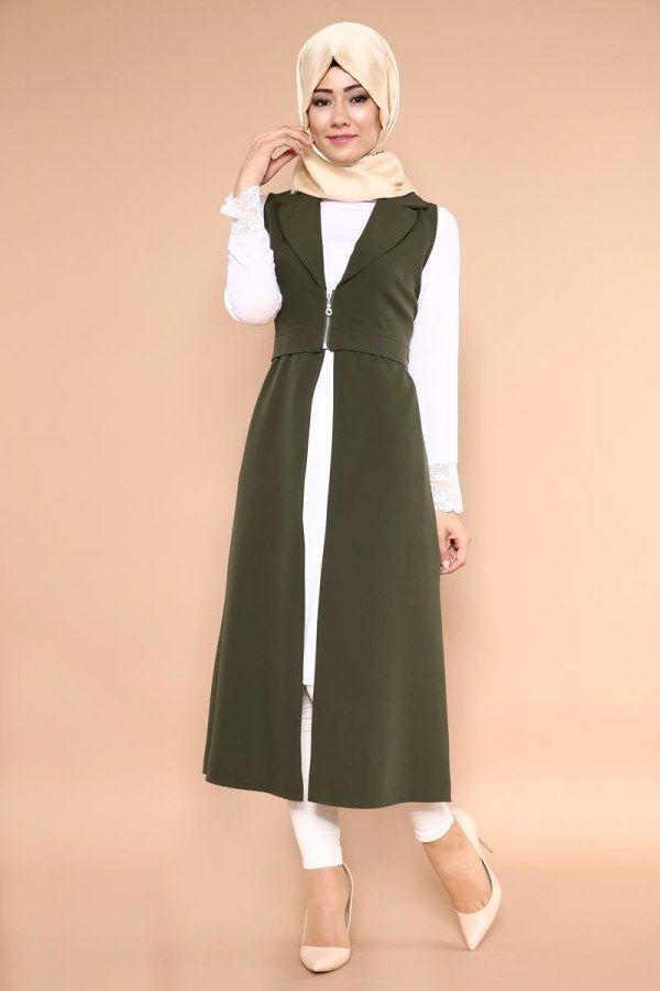 K P R S Onden Fermuarli Yelek Kprs81202 S Haki 1 Basortusu Modasi Kiyafet The Dress