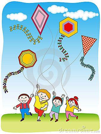 Children Flying Kites Fly Drawing Kite Drawing For Kids