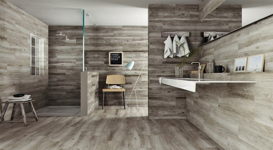 A wooden effect tile with a matt finish that comes in two - Wood Tile Bathroom