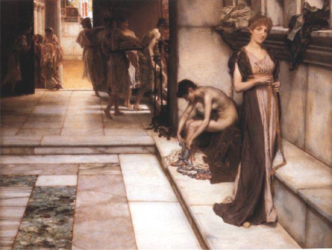 Lawrence Alma Tadema, Apodyterium (1886 ; 44 * 60 cm ; huile sur panneau de bois ; collection privée)