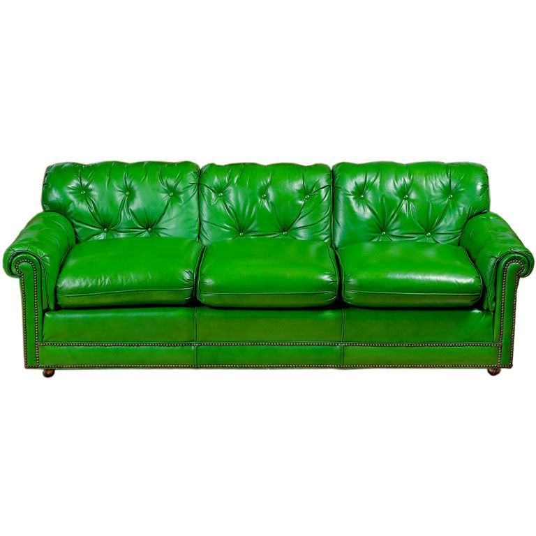 Stunning 1960s Grass Green Leather Sofa From A Unique