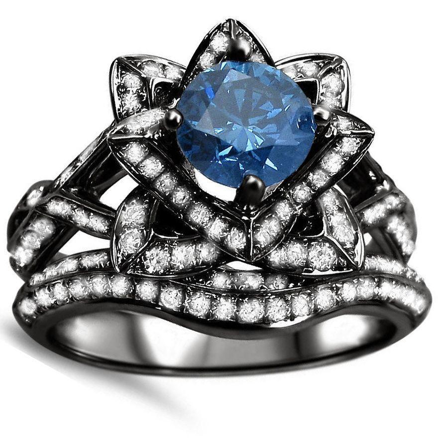 Noori k black gold ct blue round diamond lotus flower engagement
