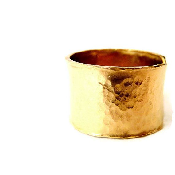 Wide Gold Ring Statement Band Ring Gold Filled by VenexiaJewelry
