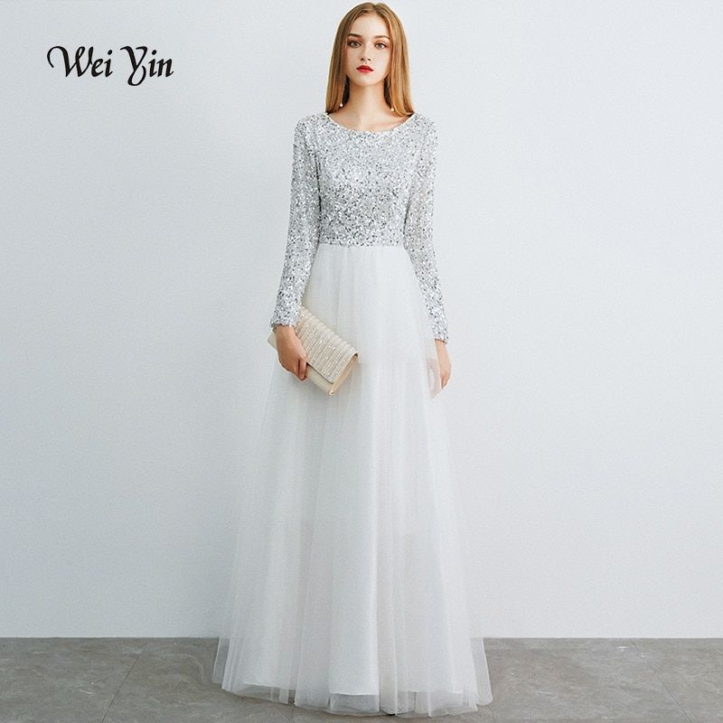 f6438c5f783 weiyin Robe De Soiree Long Sleeves White Long Evening Dresses 2019 Floor  Length Vintage Sequined Top Cheap Prom Dresses WY1066