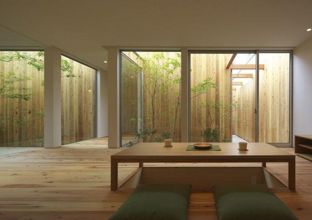 Fließender Übergang Von Innen Und Außenbereich Kleiner Garten. Japanische  ...