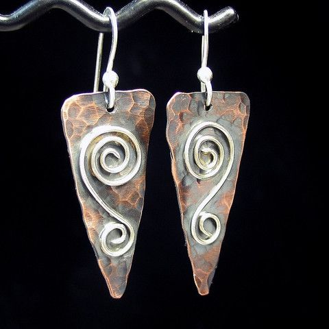 Rustic Romance - Hammered copper with soldered silver wire spiral earrings from Lavender Cottage Jewelry
