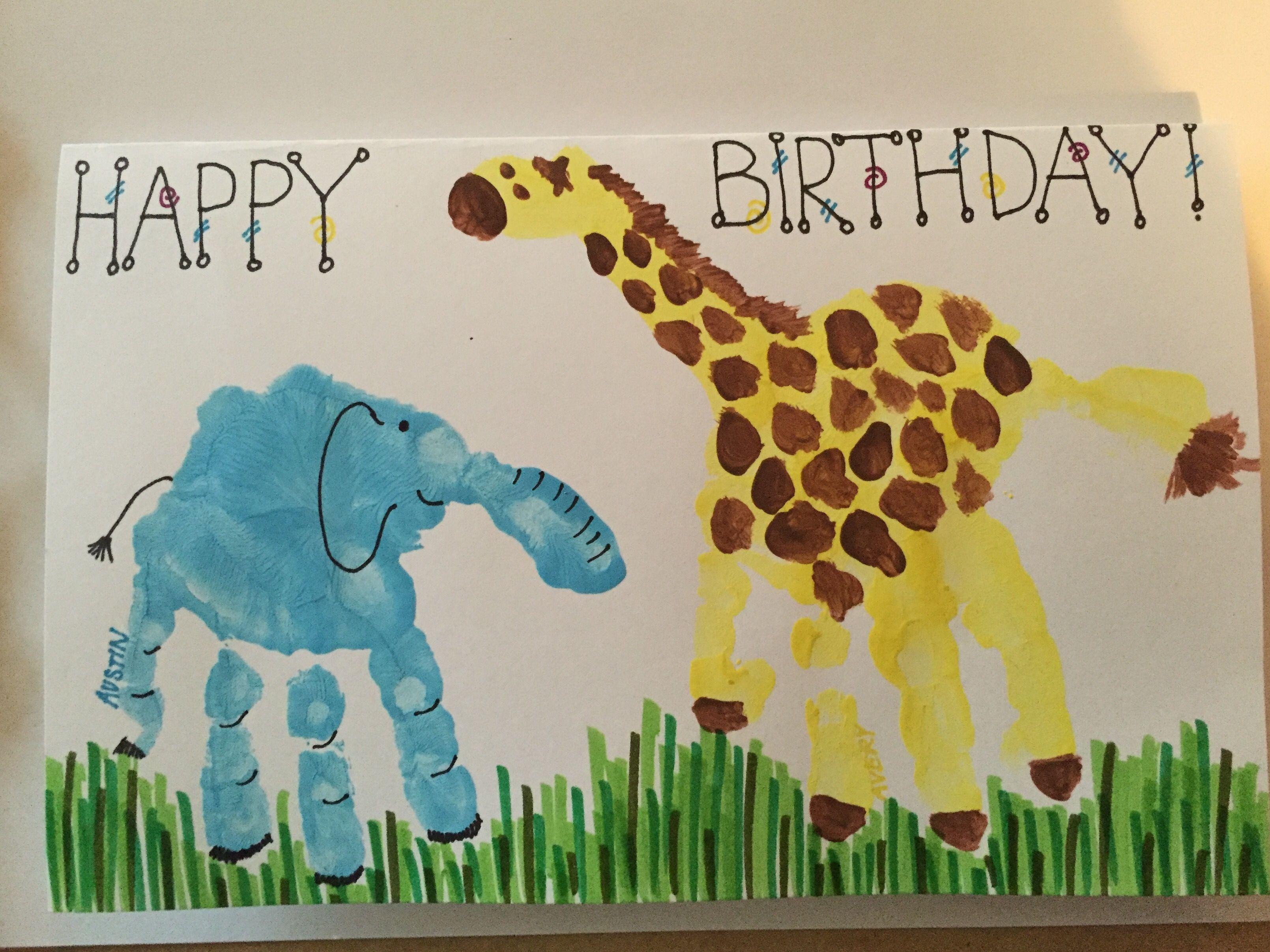 Handprint Animal Birthday Card Handprint Giraffe And Handprint Elephant Hand Print Animals Crafty Gifts Homemade Cards