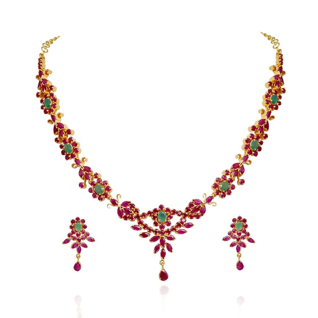 Indian Gold Jewellery Necklace Sets Google Search: Traditional South Indian Ruby & Emerald Necklace Set