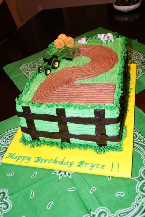 John Deere Tractor Number Plowed Field Birthday Cake