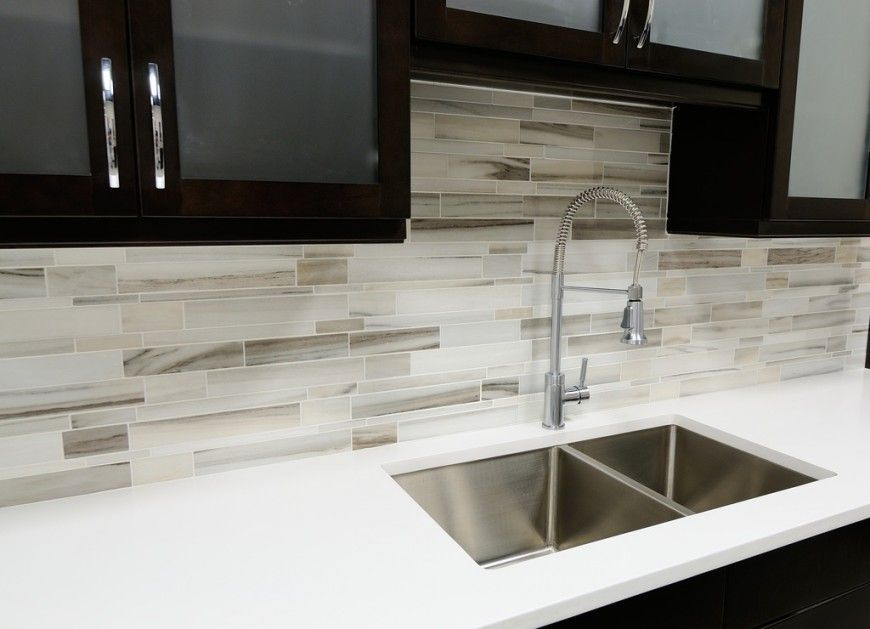 Modern Kitchen Backsplash Hgtv Cabinets 75 Ideas For 2019 Tile Glass Metal Etc A In Black And White The Contrast Is Softened By Long Shades Of Gray Taupe