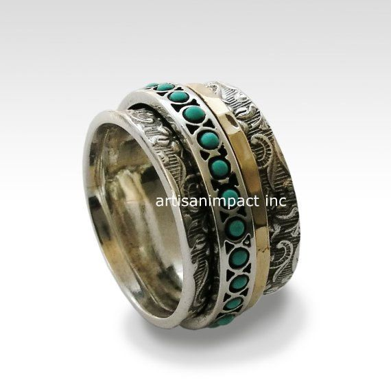 Meditation Ring Silver Band Turquoise Gold Filled Stacking
