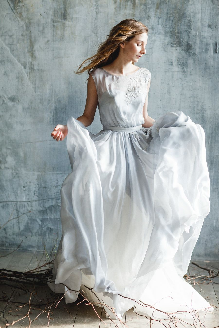 Flowing coloured boho wedding dress made of blue shade silk with ...
