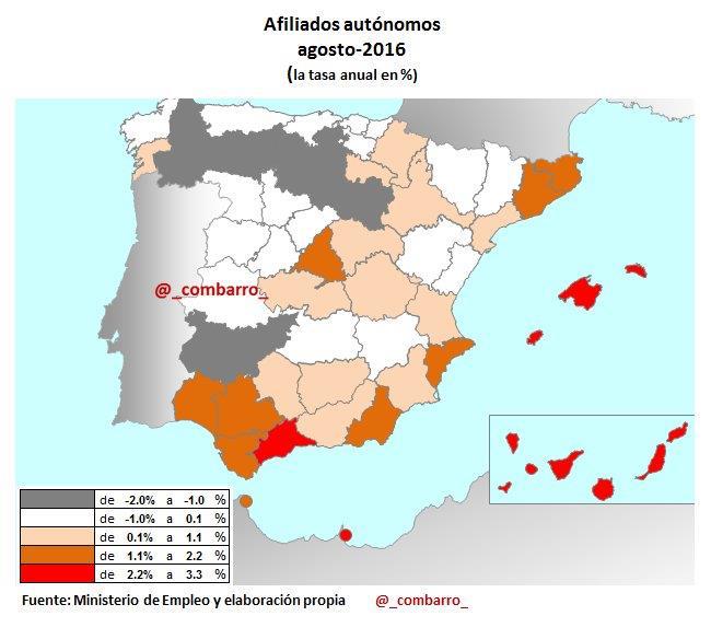 Mapa Autonomos España 2016