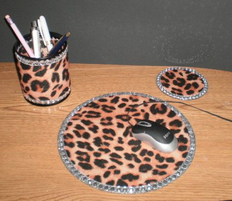 Animal Print Bling Computer Desk Set Cheetah Print W