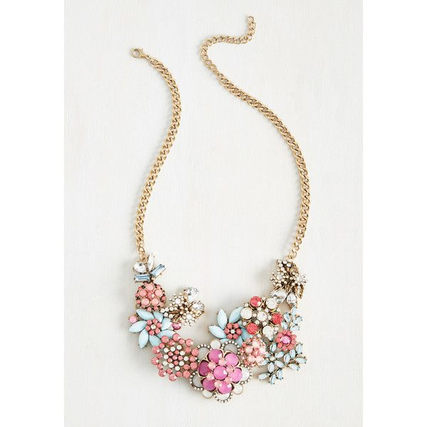 Vow to Wow Necklace ($35) ❤ liked on Polyvore featuring jewelry, necklaces, curb link necklace, statement necklace, curb chain necklace, gemstone jewelry and flower jewelry