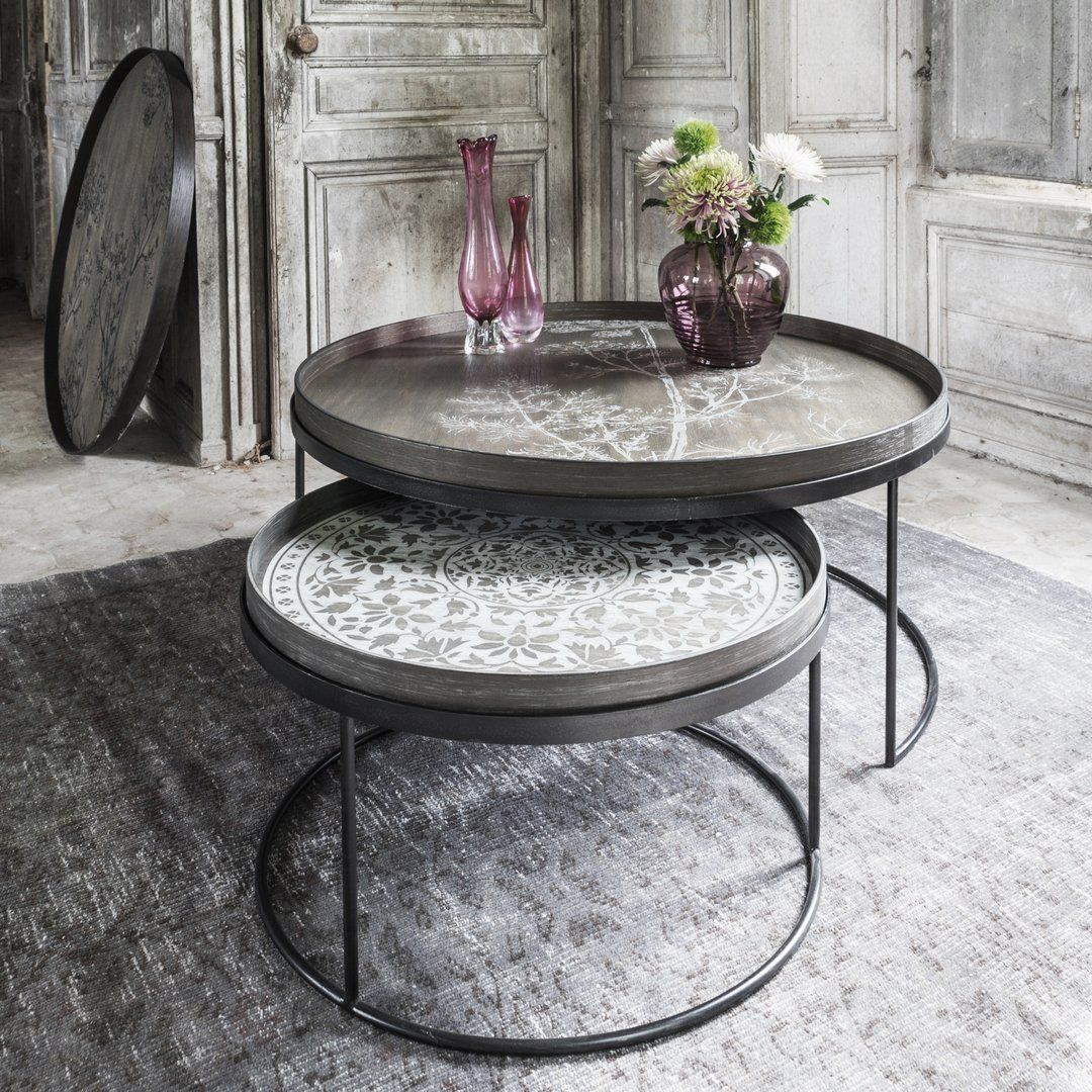 Notre Monde Round Tray Table Frame Set Of Two Low Xl A Multi Functional Table Set Which Can Be Used With A Round Coffee Table Tray Coffee Table Round Tray [ 1080 x 1080 Pixel ]