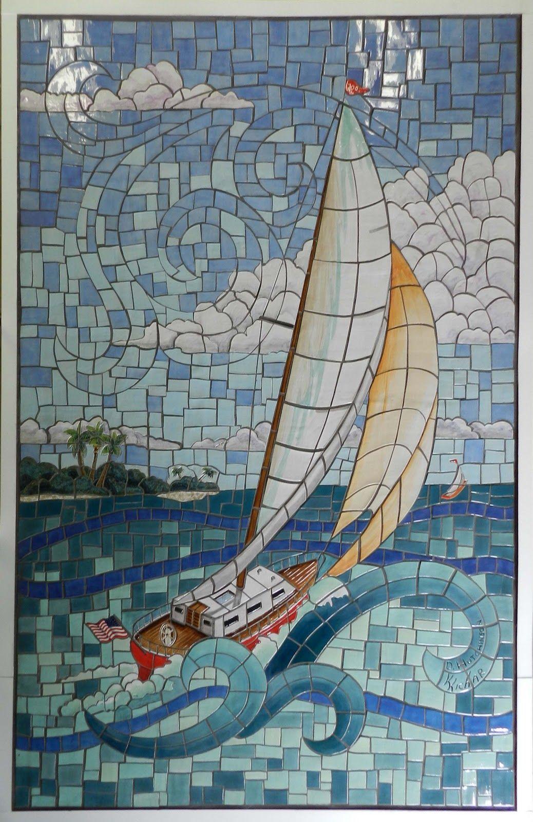 Modern Mosaic Tile Murals With Elegant Blue Sailboard For Simple Design Ideas Art