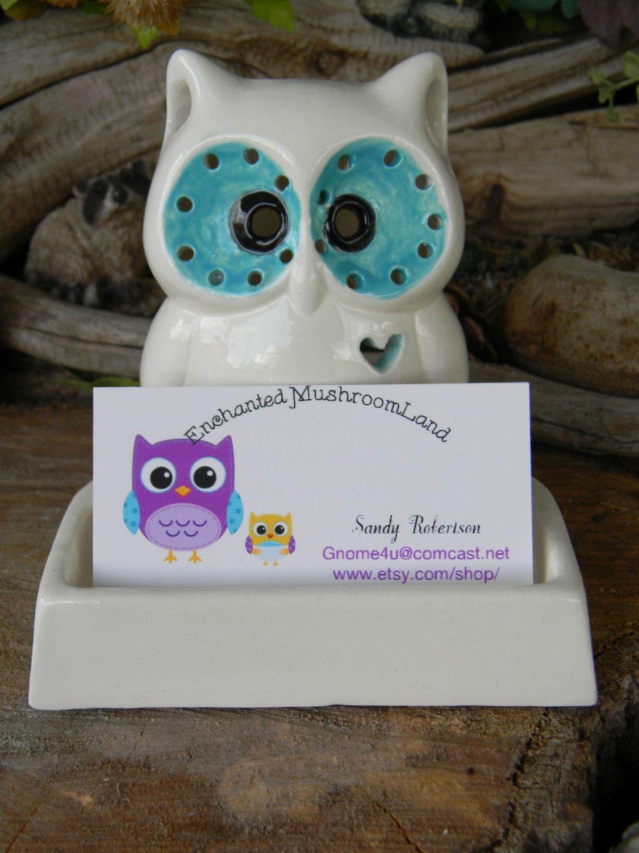 Owl business card holder office desk decor white ceramic glazed