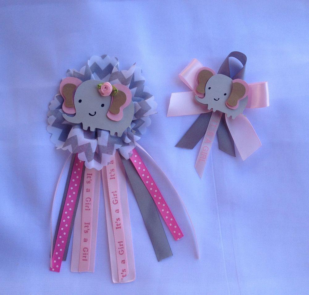 Baby Shower Corsage, Elephant Theme 2 Pcs Ready To Use #Handmade #BabyShower