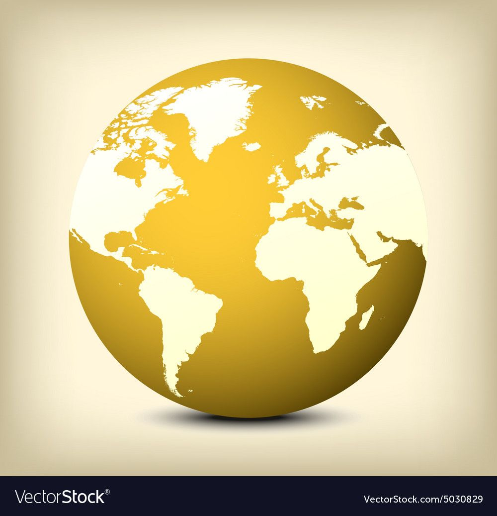 Golden Globe Icon With Soft Shadow On Yellow Background Download A Free Preview Or High Quality Adobe Illustrator Ai Globe Icon Yellow Background Globe Logo