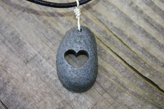Lake Superior rock necklace a smooth rock by WoodlandInspiration