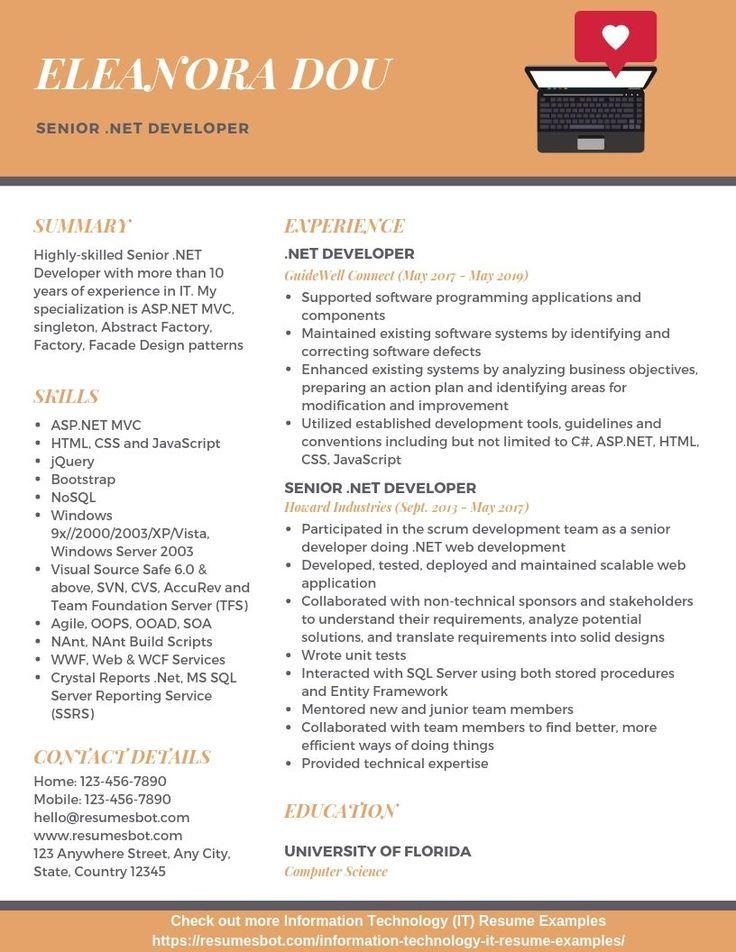 Senior Developer Resume Example Developer NET