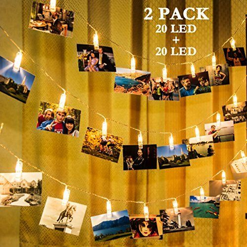 2 Pack Photo Clips String Lights, GIGALUMI 20ft 20 LED Indoor Fairy