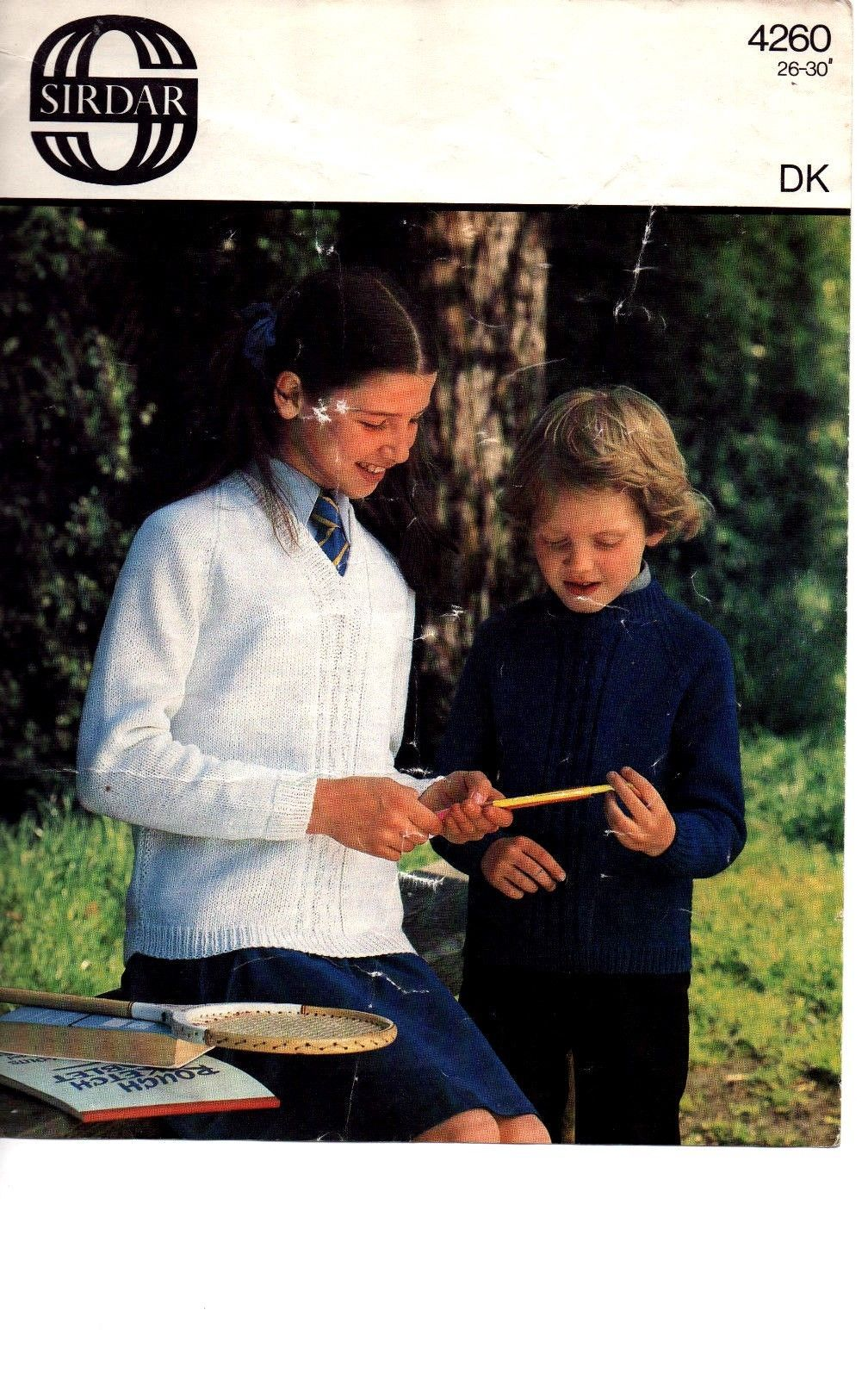 63766f029 vintage Sirdar DK knitting pattern 4260 boys girls school sweaters ...