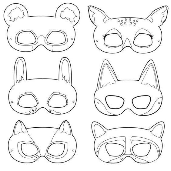 Woodland Forest Animals Coloring Masks, woodland animal mask, bear