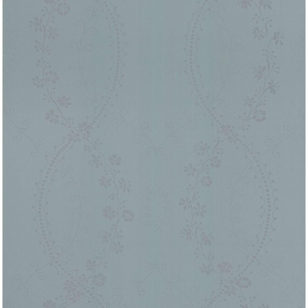 Brewster Madison Florals Blue Stencil Wallpaper Sample 282 64086SAM