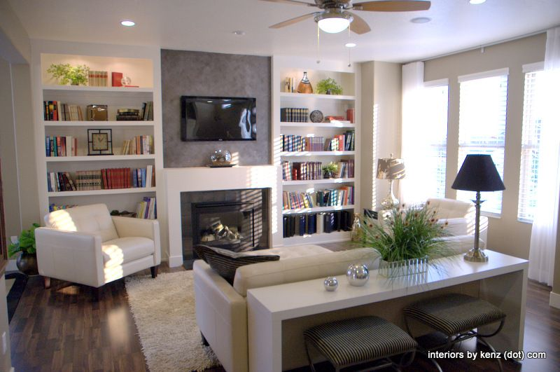 Good Use Of Small E Like The Shelf Behind Couch Living Room Ideas