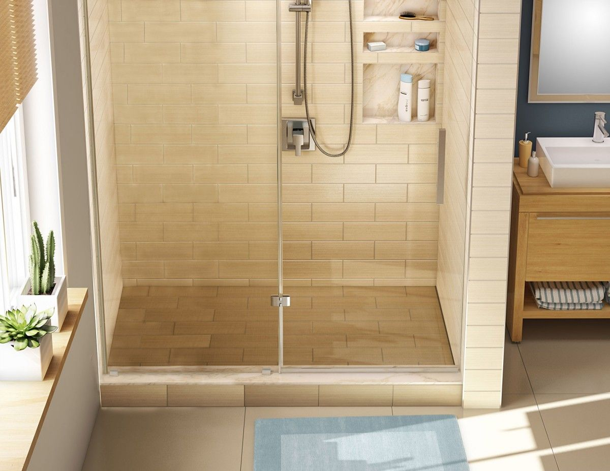 Single Curb Shower Pan With Right Trench Drain, 42u2033D X 72u2033W