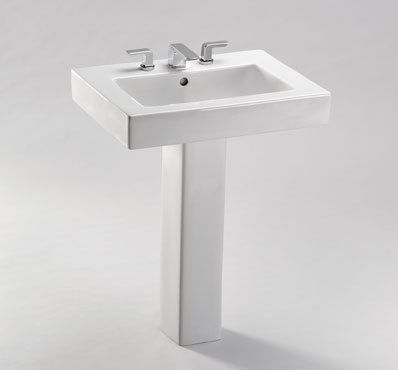 View The Toto Lt315 4g Augusta Decorative 26 Pedestal Bathroom Sink With 3 Faucet Holes Drilled Over With Images Toto Bathroom Contemporary Bathroom Sinks Sink