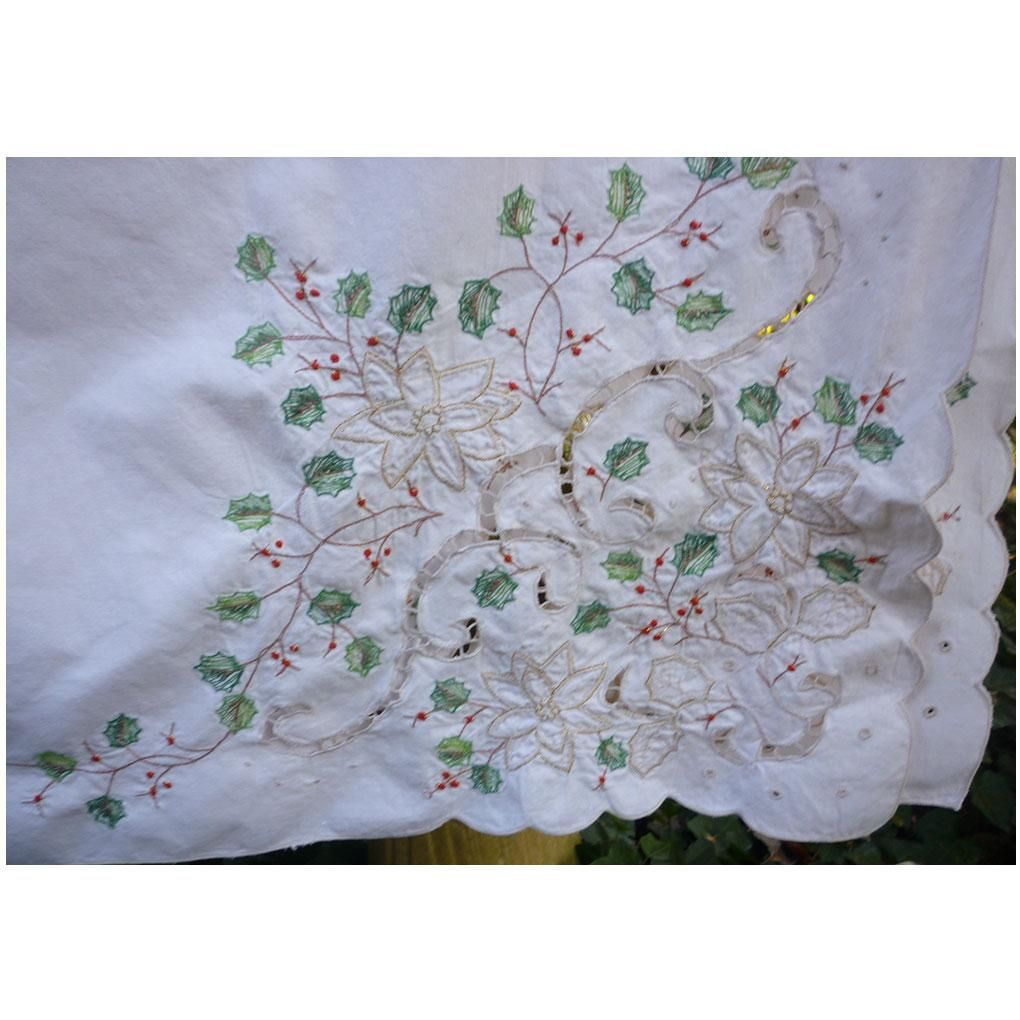 Vintage Christmas Lenox Holiday Linens Large Oblong Tablecloth