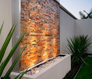 Gorgeous Stacked Stone Modern Garden Outdoor Fountain Waterfall On The Wall Wonderful To Add Lights Too