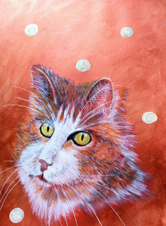 peinture portrait chat sur papier lumeline bll automne peintures par lumeline bll a. Black Bedroom Furniture Sets. Home Design Ideas