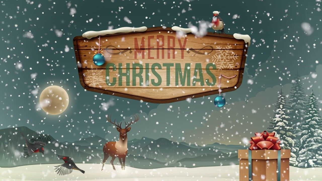1 HOUR Christmas Winter Snow Background Music Loop HD